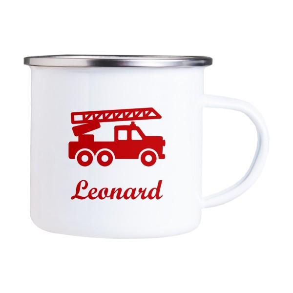 Emaille Tasse mit Wunschmotiv und Name Feuerwehrauto