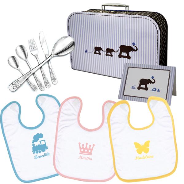 Paket - Rundum-sorglos mit Lätzchen, Besteck und Geschenkkoffer