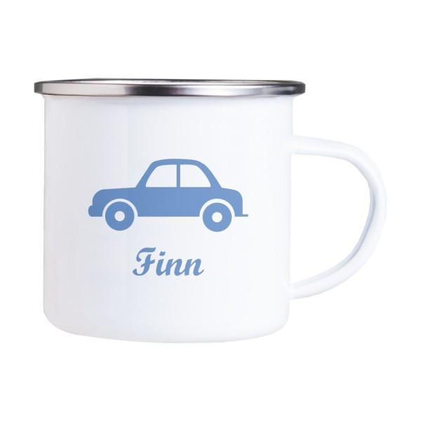 Emaille Tasse mit Wunschmotiv und Name Auto