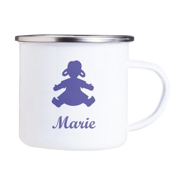 Emaille Tasse mit Wunschmotiv und Name Puppe