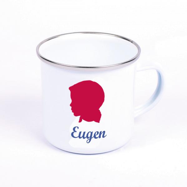 Emaille Tasse mit Wunschmotiv und Name