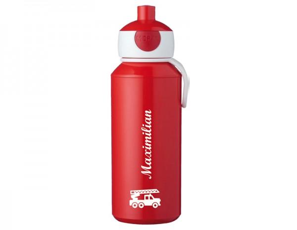 Rote Trinkflasche mit Wunschmotiv und Name