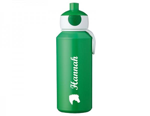 Grüne Trinkflasche mit Wunschmotiv und Name