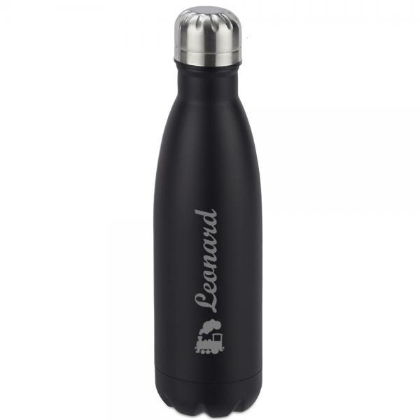Schwarze Thermosflasche mit Wunschmotiv und Name