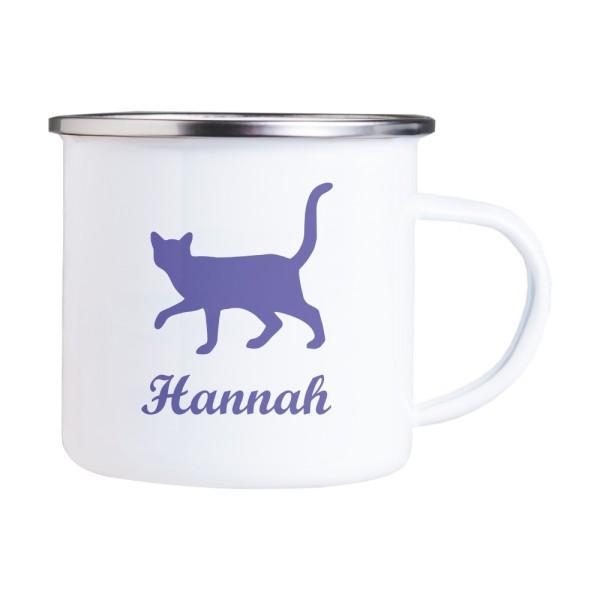 Emaille Tasse mit Wunschmotiv und Name Katze