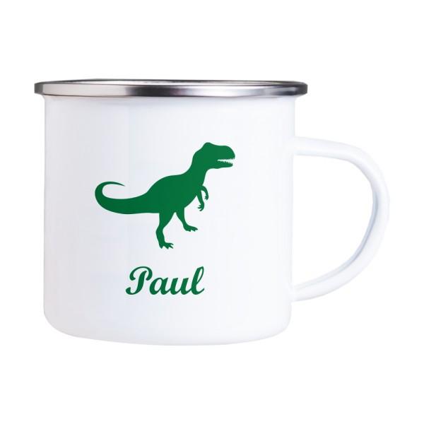 Emaille Tasse mit Wunschmotiv und Name Dino