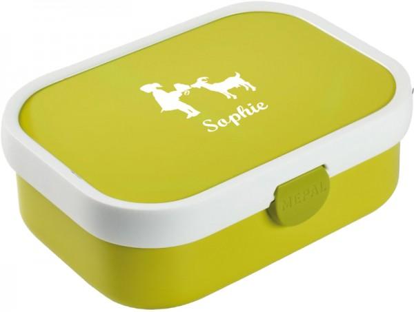 Gelbgrüne Brotdose mit Wunschmotiv und Name