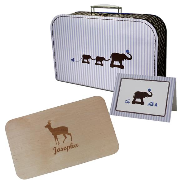 Paket - Holzbrettchen im Geschenkkoffer