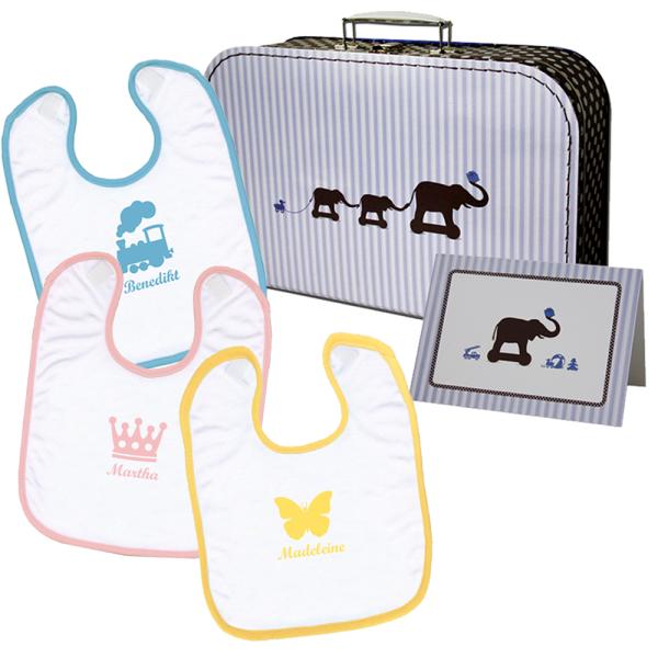 Paket - Lätzchen im Geschenkkoffer