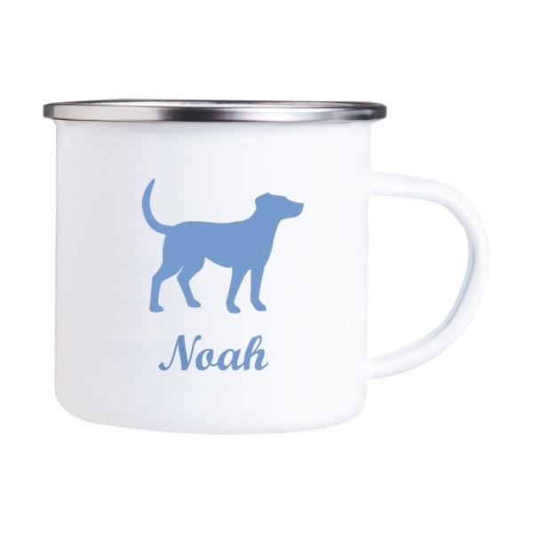 Emaille Tasse mit Wunschmotiv und Name Hund