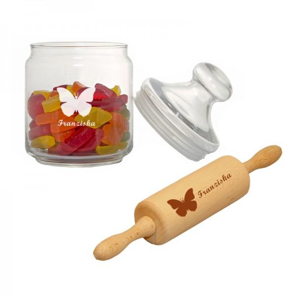 Keksglas & Teigrolle mit Wunschmotiv und Name - Back-Set