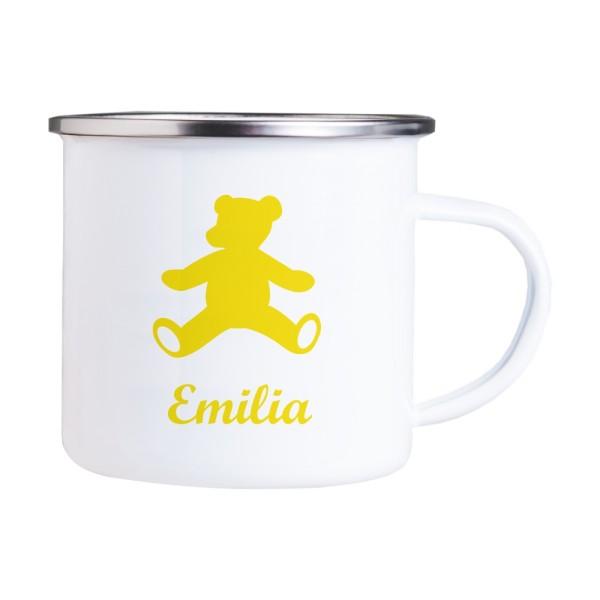 Emaille Tasse mit Wunschmotiv und Name Teddy