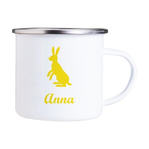 Emaille Tasse mit Wunschmotiv und Name Hase