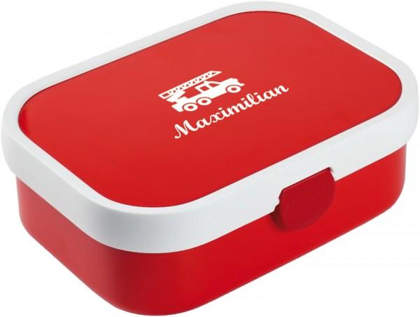 Rote Brotdose mit Wunschmotiv und Name