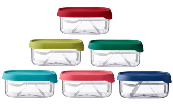 Fruchtboxen in verschiedenen Farben